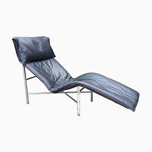 Chaise longue in skai e metallo cromato di Tord Bjorklund per Ikea, anni '70
