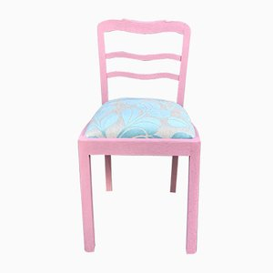 Oak Pink Chair with Light Blue Cover, 1940s