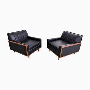 Black Leatherette Lounge Chairs from G-Plan, 1960s, Set of 2