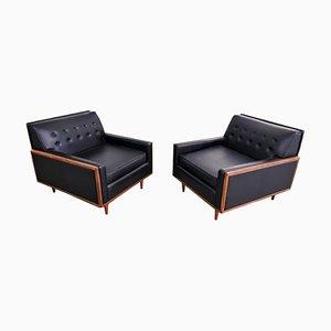 Schwarze Sessel aus Kunstleder von G-Plan, 1960er, 2er Set