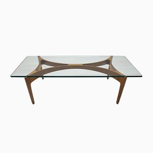 Mid-Century Glass and Teak Coffee Table, 1960s