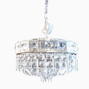 Lámpara de araña vintage de cristal, años 40