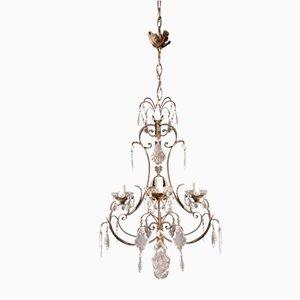 Art Nouveau Style Crystal Candelabrum Chandelier, 1950s