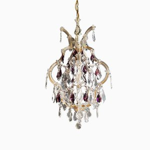 Maria Theresa Style Purple Crystal Ceiling Lamp, 1940s