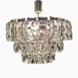 Crystal Glass Chandelier Lamp by Kinkeldey, 1970s