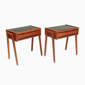 Danish Glass and Teak Nightstands by Arne Vodder, 1960s, Set of 2