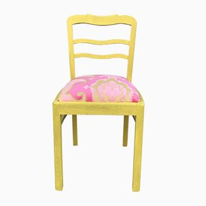 Oak Chair with Pink Cover, 1940s