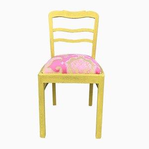 Stuhl aus Eichenholz mit Rosa Bezug, 1940er