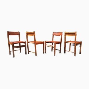 Italian Tan Leather Safari Dining Chairs from Ibisco Sedie, 1970s, Set of 4