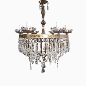 Antique Crystal Chandelier, 1940s