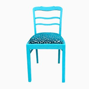 Blauer Stuhl aus Eiche, 1940er