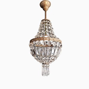 Empire Style Sac a Pearl Crystal Chandelier, 1940s