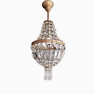 Lustre Style Empire en Perle en Cristal, 1940s