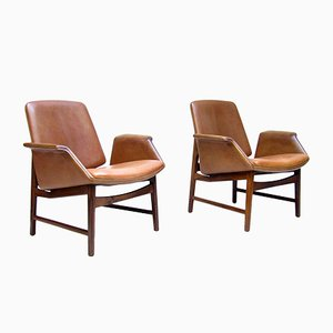 Danish Rosewood 451 Easy Chairs by Illum Wikkelsø for Aarhus Polstrermøbelfabrik, 1960s, Set of 2