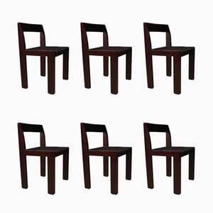 Vintage Italian Mahogany Dining Chairs, 1980s, Set of 6