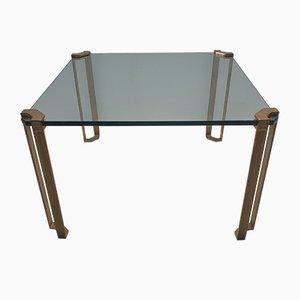 Mesa de centro cuadrada de latón y vidrio de Peter Ghyczy para Ghyczy, años 70