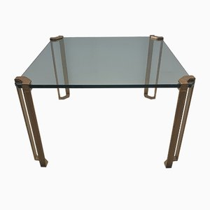 Square Brass & Glass Coffee Table by Peter Ghyczy for Ghyczy, 1970s