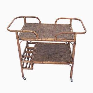 Mid-Century Bambus & Rattan Bar Cart