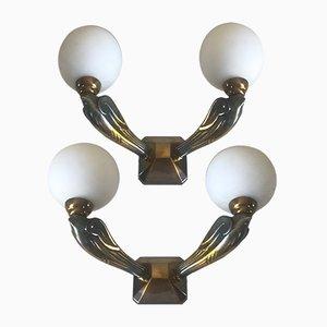 Apliques franceses Mid-Century en forma de golondrinas de bronce, años 50. Juego de 2