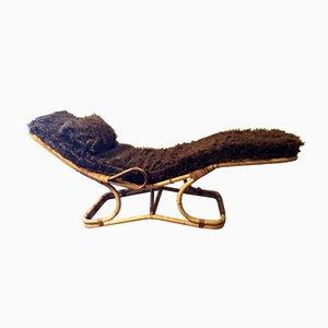Chaise longue francesa Mid-Century de ratán, años 50