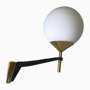 Französische Wandlampe aus Aluminium & Messing von Arlus, 1960er