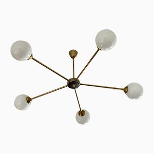 Mid-Century Italian Opal Bubble and Brass Ceiling Lamp, 1950s