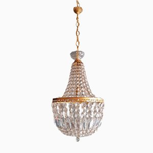 Empire Style Sac a Pearl Crystal Chandelier, 1950s