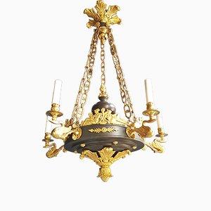 Lámpara de araña francesa antigua de latón