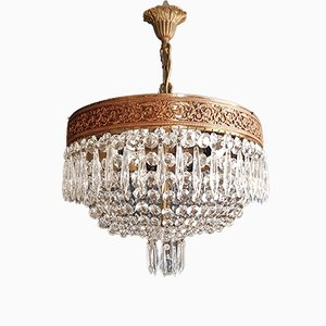 Low Oval Plafonnier Crystal Chandelier, 1920s
