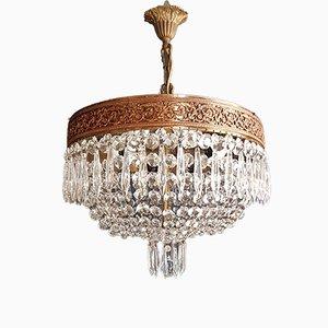 Niedriger ovaler Deckenleuchten Kronleuchter aus Kristallglas, 1920er