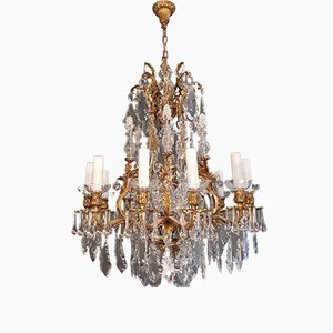 Art Nouveau Style Brass and Crystal Chandelier, 1920s
