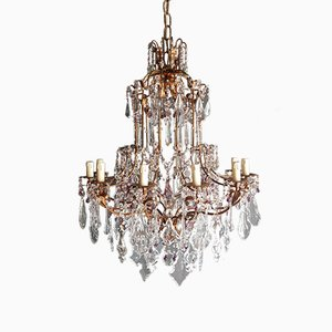 Art Nouveau Style Murano Crystal Chandelier, 1930s