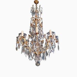 Lámpara de araña francesa de cristal, años 20