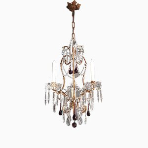 Antique Style Purple Crystal Candle Chandelier, 1930s