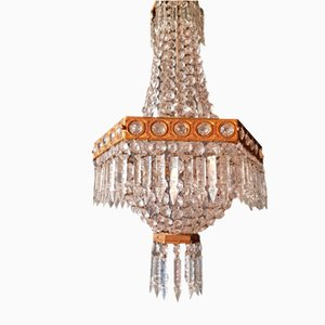 Empire Style Crystal Sac a Pearl Chandelier, 1950s