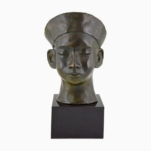 Art Deco Bronze Bust of Chinese Boy with Hat and Braid by C. Le Van