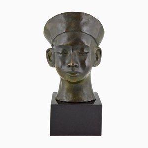 Art Deco Büstenhalter aus Bronze mit Hut und Geflecht von C. Le Van