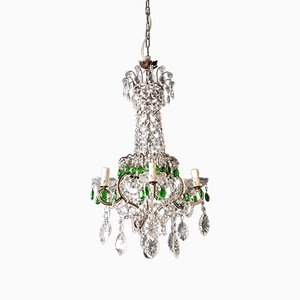 Lámpara de araña neoclásica antigua de cristal verde, década de 1900