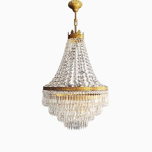 Empire Brass Chandelier, 1950s