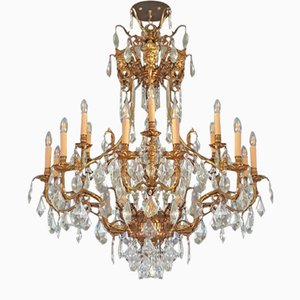 Large Antique Style Crystal & Brass Chandelier, 1940s