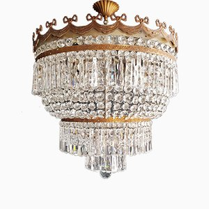 Low Plafonnier Crystal Chandelier, 1940s