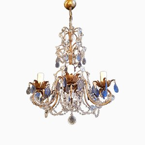 Beaded Blue Crystal Chandelier, 1940s