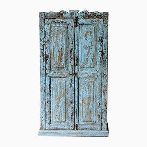 Indischer Vintage Holzschrank in Blau