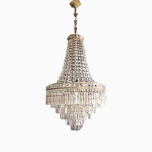 Empire Style Crystal Waterfall Chandelier, 1930s