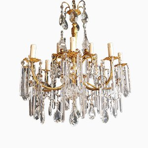 Gilded Crystal Chandelier, 1940s