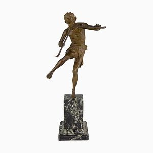 Tanzende Art Deco Satyr Skulptur aus Bronze von Edouard Drouot für Etling Foundry, 1920