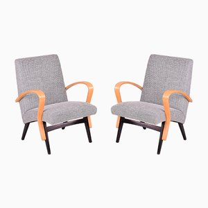 Czech Beech Armchairs, 1950s, Set of 2