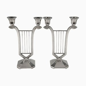 Candelabri Art Deco placcati in argento di Gallia per Christofle, set di 2