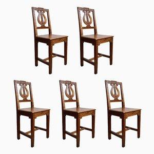 Chaises de Salle à Manger Néoclassiques Antiques en Bois et Frêne à Motif Lyre, Set de 5