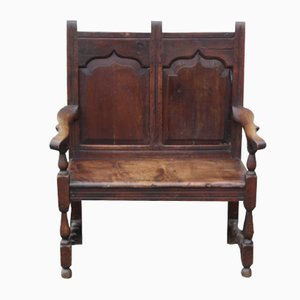 Georgian Rustic Oak 2 Seater Settee